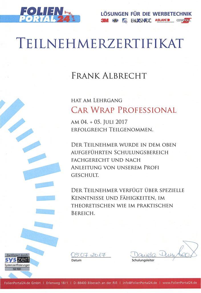 Zertifikat Car Wrap Professional
